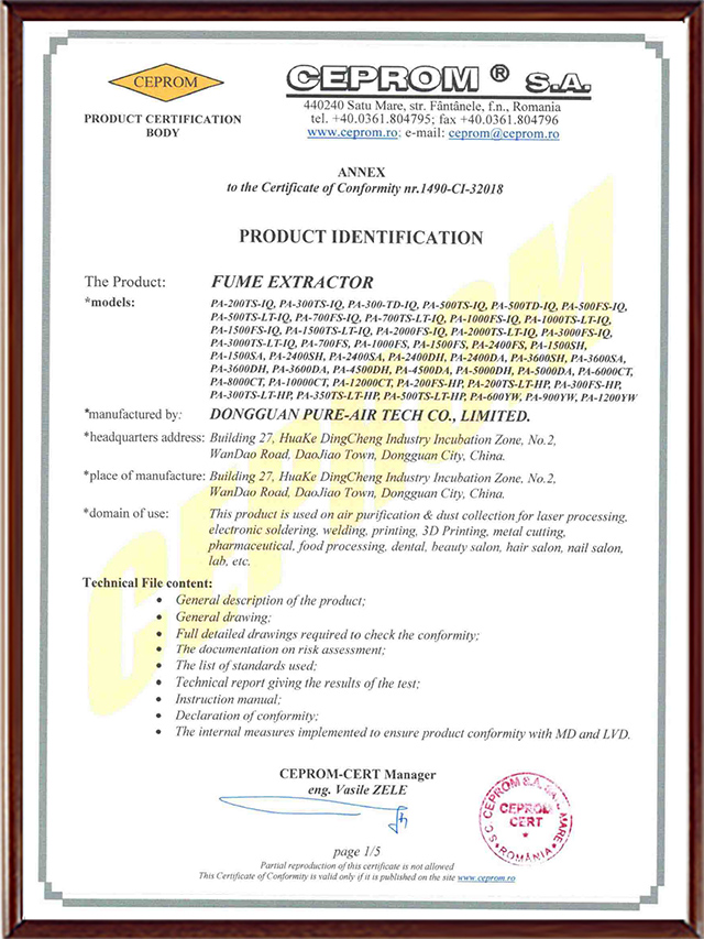 PURE-AIR CE CERTIFICIATION-Page 1