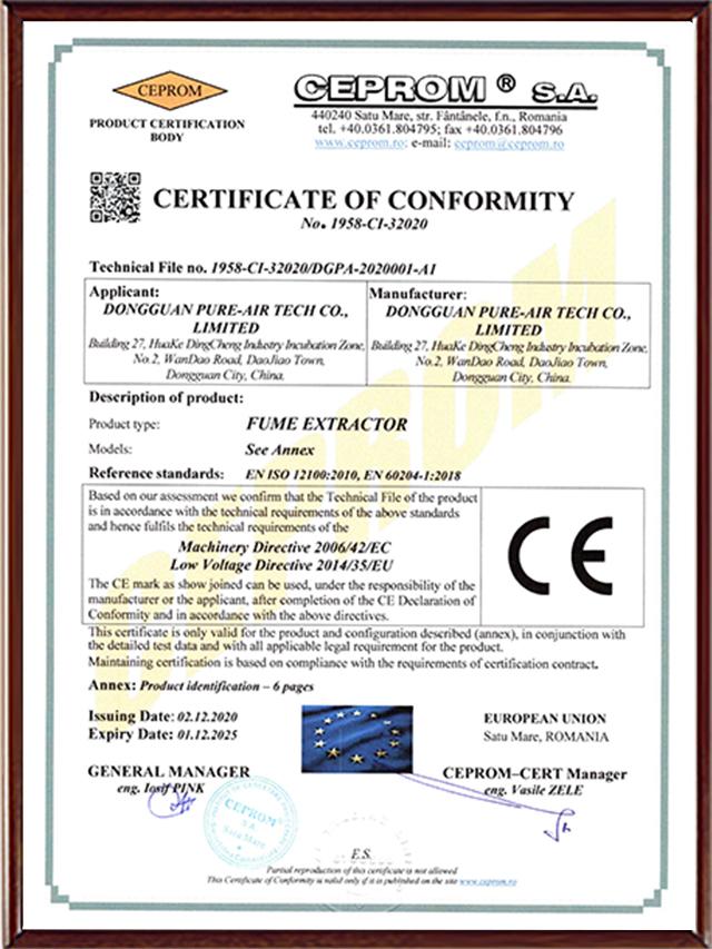 PURE-AIR CE CERTIFICIATION-2022