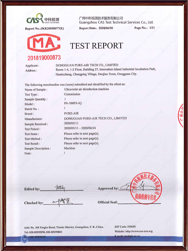 PURE-AIR TEST REPORT