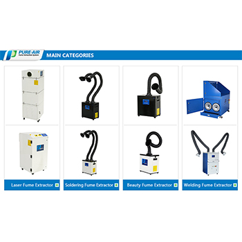 Pure-Air, professional dust cleaner, air fume extractor and other fume purification equipment supplier